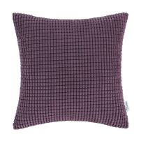 CaliTime Cozy Throw Pillow Cover Case for Couch Sofa Bed Comfortable Supersoft Corduroy Corn Striped Both Sides 22 X 22 Inches Deep Purple