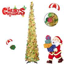 Collapsible Christmas Trees 5 Foot Artificial Tinsel Xmas Tree, Pop Up Multicolored Pencil Sequin Coastal for Holiday, Apartment, Party, Home, Office, Christmas Decorations, Fireplace–Colorful Golden