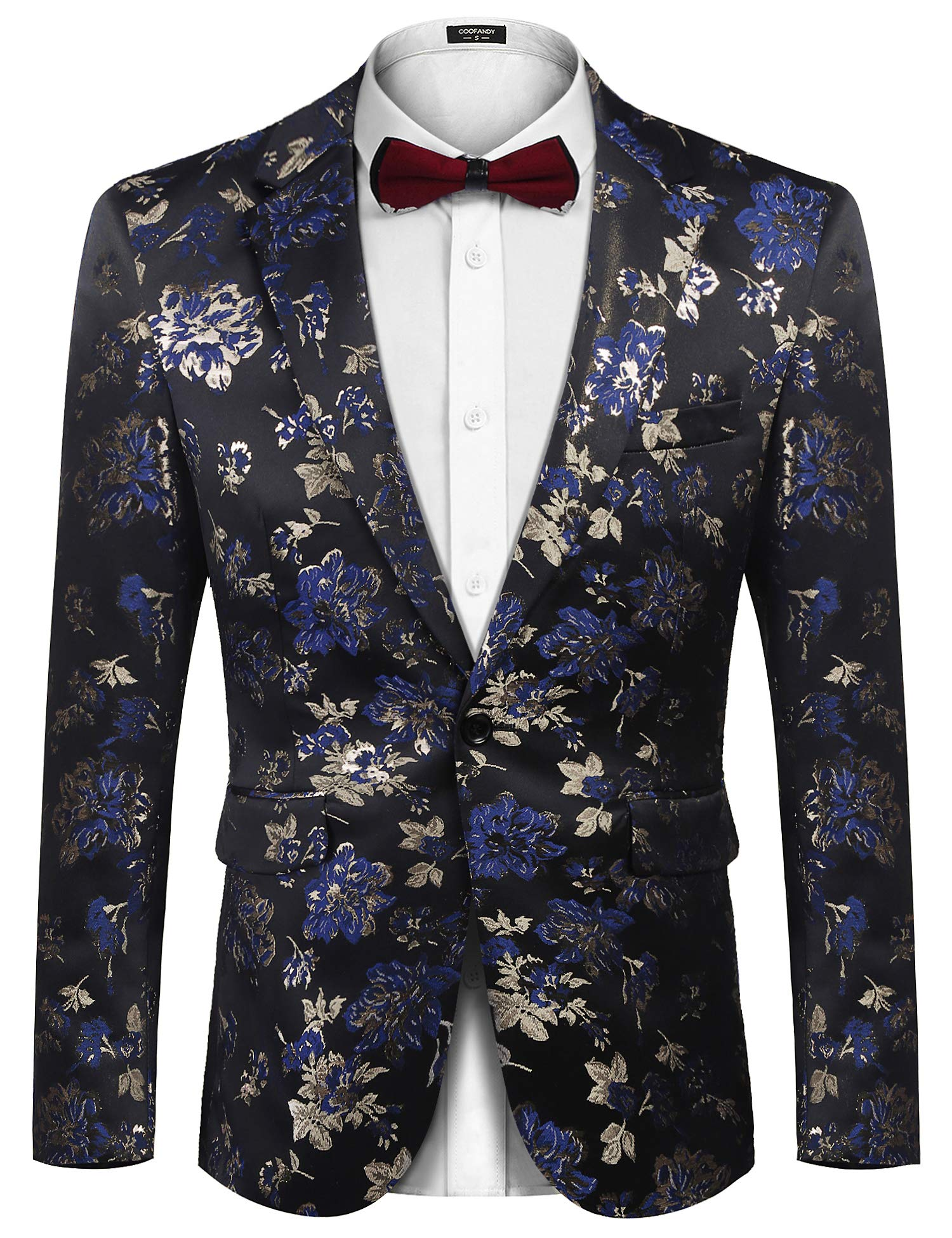 COOFANDY Men's Floral Blazer Slim Fit Dinner Tuxedo Prom Wedding Party Suit Jacket