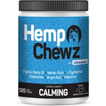 Hemp Chewz Calming Treats for Dogs - Organic Hemp Oil, Suntheanine, Melatonin, LTryptophan, Chamomile, Valerian Root, for All-Natural Anxiety & Stress Relief - 120 Soft Chews