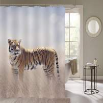 """MitoVilla Tiger Shower Curtain Set with Hooks, Bengal Tiger Walking in The Grassland Wildlife Bathroom Decor, Waterproof Bathroom Accessories, Tiger Gifts for Women, Men and Kids, Gold, 72"""" W x 84"""" L"""