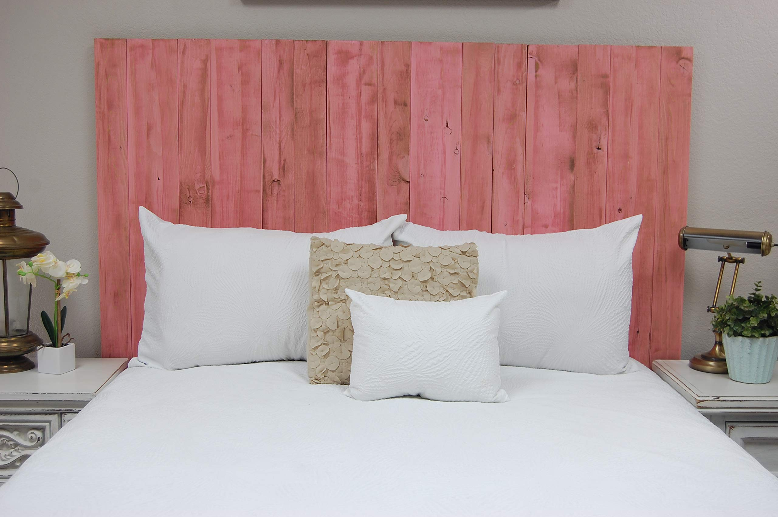 Pink Headboard Weathered California King Size, Hanger Style, Handcrafted. Mounts on Wall. Easy Installation