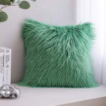 Phantoscope Luxury Series Throw Pillow Covers Faux Fur Mongolian Style Plush Cushion Case for Couch Bed and Chair, Green, 18 x 18 inches, 45 x 45 cm