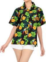 LA LEELA Women's Hawaiian Blouse Shirt Short Sleeves Nightwear Shirt Embroidered