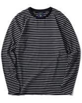 Zengjo Men's Casual Cotton Spandex Striped Crewneck Long-Sleeve T-Shirt Basic Pullover Stripe tee Shirt