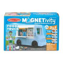 Melissa & Doug Magnetivity Magnetic Tiles Building Play Set – BBQ, Ice Cream, Taco Food Truck Vehicle (6 Panels, 55 Magnets, STEM Toy)