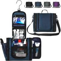 WANDF Expandable Toiletry Bag Dopp Kit TSA Approved Bottles Water Resistant Nylon, Navy Blue
