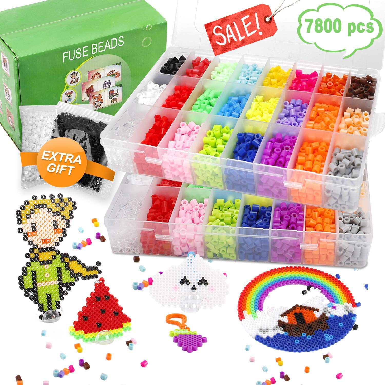 Fuse Beads, 7800 pcs Fuse Beads Kit 24 Colors 5MM for Kids, Including 5 Ironing Paper,50 Patterns, 2 Pegboards, Tweezers, Keychain, Rings, Perler Beads Compatible Kit by Farielyn-X