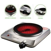 Ovente Electric Glass Infrared Countertop Burner 7.5 Inch Single Plate with Temperature Knob, Compact and Portable, 1000 Watts, Indicator Light, Fire Resistant Metal Housing, Silver (BGI201S)