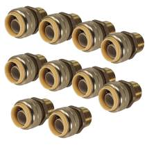 "PROCURU 1/2-Inch PushFit MNPT Male Adapter, Plumbing Fitting for Copper, PEX, CPVC, PE-RT Pipe, Lead Free (1/2"", 10-Pack)"