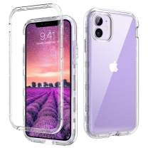 """DOMAVER iPhone 11 Case Clear iPhone 11 6.1"""" Phone Case Triple Layer Heavy Duty Hybrid Hard PC Flexible TPU Cover Shockproof Protective Phone Cases for iPhone 6.1 inch (2019), Crystal Clear"""