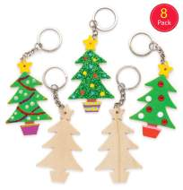 Baker Ross Christmas Tree Wooden Keyrings — Novelty Arts and Craft Toys for Kids, Perfect Party, Loot or Prize Bag Filler (Pack of 8)
