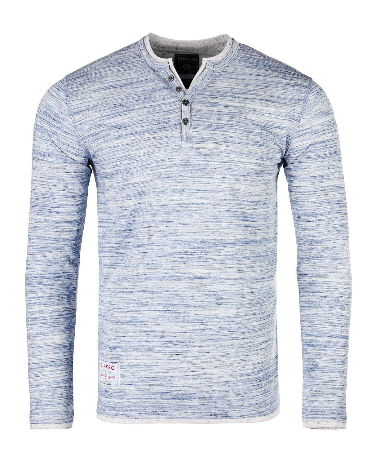 ZIMEGO Men's Long Sleeve Fashion Casual Henley Shirt with Contrast Layer V-Neck and Hemlines