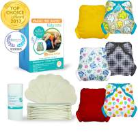 Tidy Tots Diapers Hassle Free 12 Diaper Snap Great Start Set with Elephants, Owls, TweetHeart, Diamond Dot, Marigold, and Red Covers
