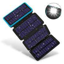 Solar Charger 25000mAh, F.DORLA Solar Power Bank with 4 Solar Panels and 5V/2.1A USB Port, Portable Solar External Battery with Bright Led Flashlight(SOS)&Carabiner for Outdoor Activity/Emergency