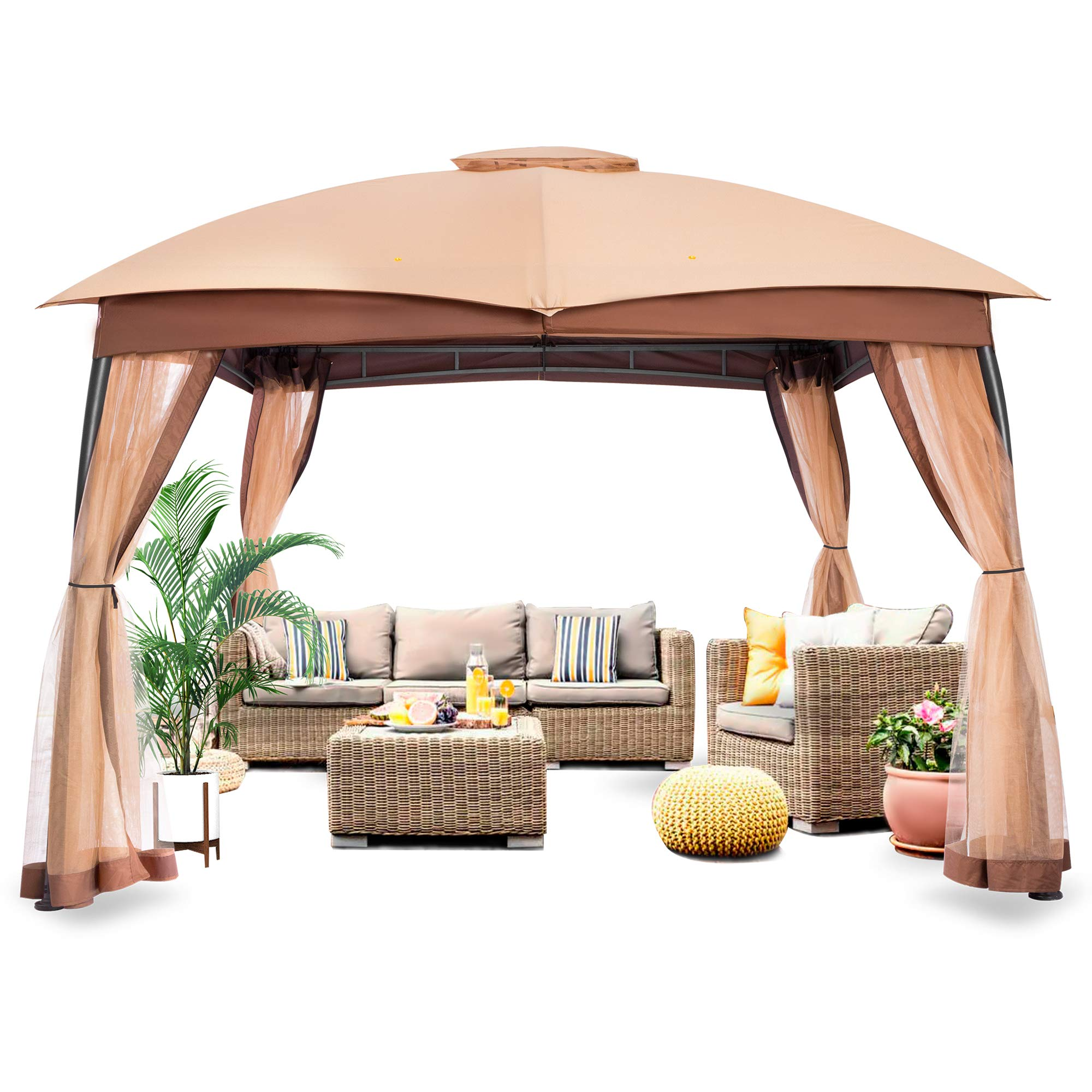 FAB BASED 10x10 Gazebo for Patio, Outdoor Gazebos and Canopies Waterproof, Canopy Patio with Mosquito Netting,Khaki