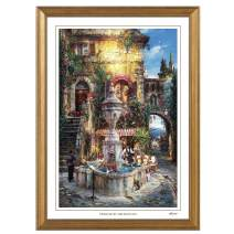 """Cao Yong Print Artwork - Licensed Copy of CAO Youg Masterpiece - (Twilight by The Fountain) Decorative Painting with Solid Wood Frame, Wall Art Decor Poster for Home and Office - 13 3/5"""" X 9"""""""