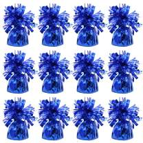 UNIQOOO 12Pcs Metallic Blue Heavy Solid Balloon Weights Pack, Party Table Centerpiece DIY Decor For July 4th,Memorial Day,Baby Bridal Shower,Birthday Party Favor Supply, Large Tall 5 Oz 140g, 5.5 Inch