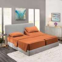 Nestl Bedding 5 Piece Sheet Set - 1800 Deep Pocket Bed Sheet Set - Hotel Luxury Double Brushed Microfiber Sheets - Deep Pocket Fitted Sheet, Flat Sheet, Pillow Cases, Split Cal King - Rust
