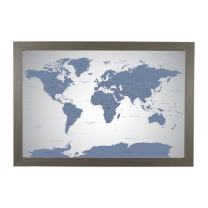 Push Pin Travel Maps Blue Ice World with Barnwood Gray Frame and Pins - 27.5 inches x 39.5 inches