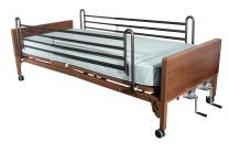 Drive Medical Manual Hospital Bed, Brown, Full Rails and Innerspring Mattress, 36 Inch