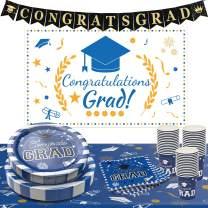 2021 Graduation Party Supplies - 135 PCS Disposable Dinnerware Set Dinner Paper Plates Napkins Cups Congrats Grad Banner Backdrop Decoration, Serves 30 Guests Graduation Party Decorations(Blue)