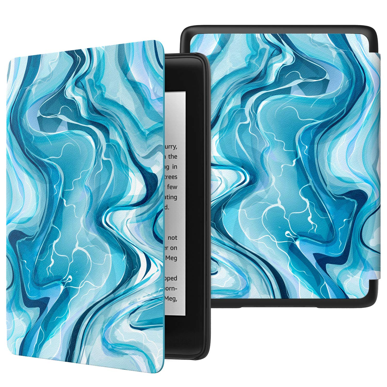 MoKo Case Fits K i n d l e Paper w h i t e (10th Generation, 2018 Release), Thinnest Lightest Smart Shell Cover with Auto Wake/Sleep for K i n d l e Paper w h i t e E-Reader 2018 - Blue Water Color