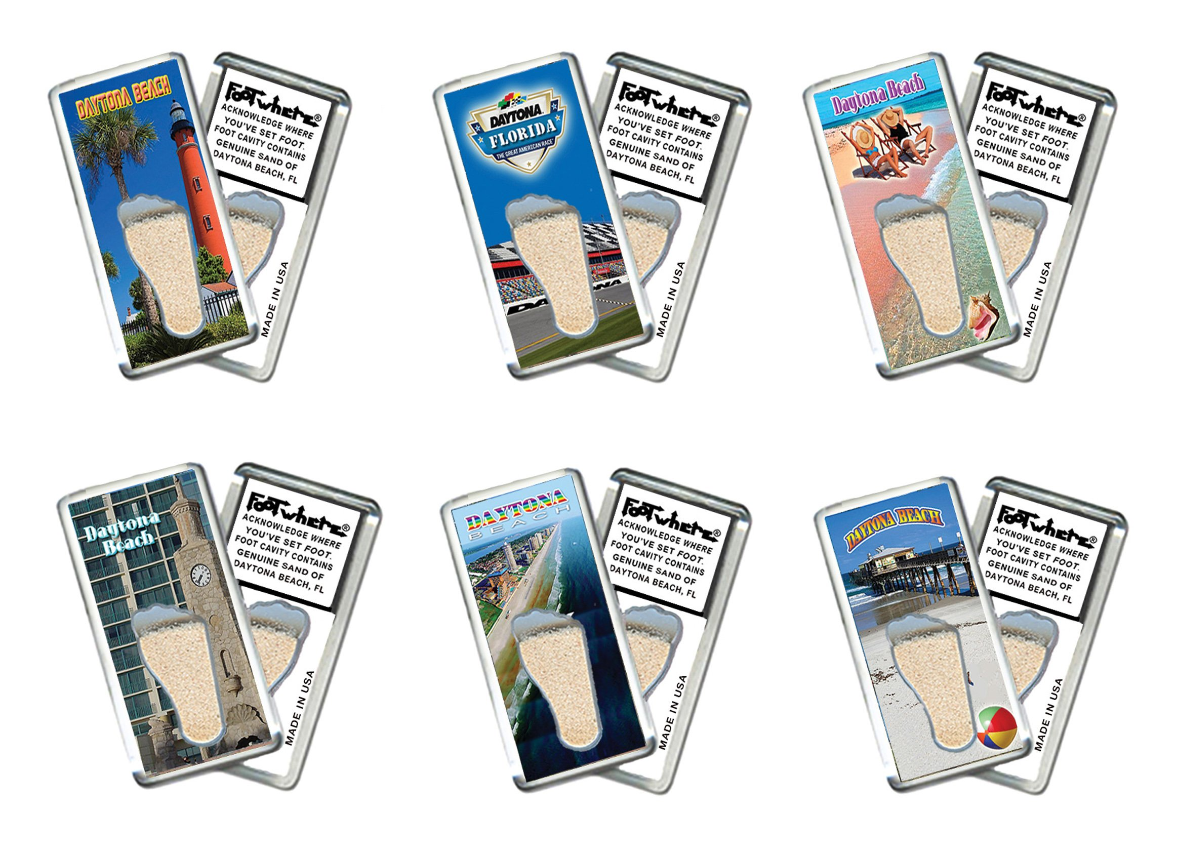 Daytona Beach FootWhere Fridge Magnets. 6 Piece Set. Authentic destination souvenir acknowledging where you've set foot. Genuine soil of featured location encased inside foot cavity. Made in USA