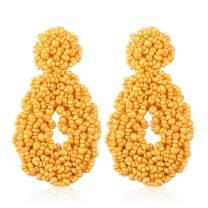 Statement Beaded Hoop Earrings, Drop Dangle Oval Earrings Bohemian for Women Girl Novelty Fashion Summer Accessories