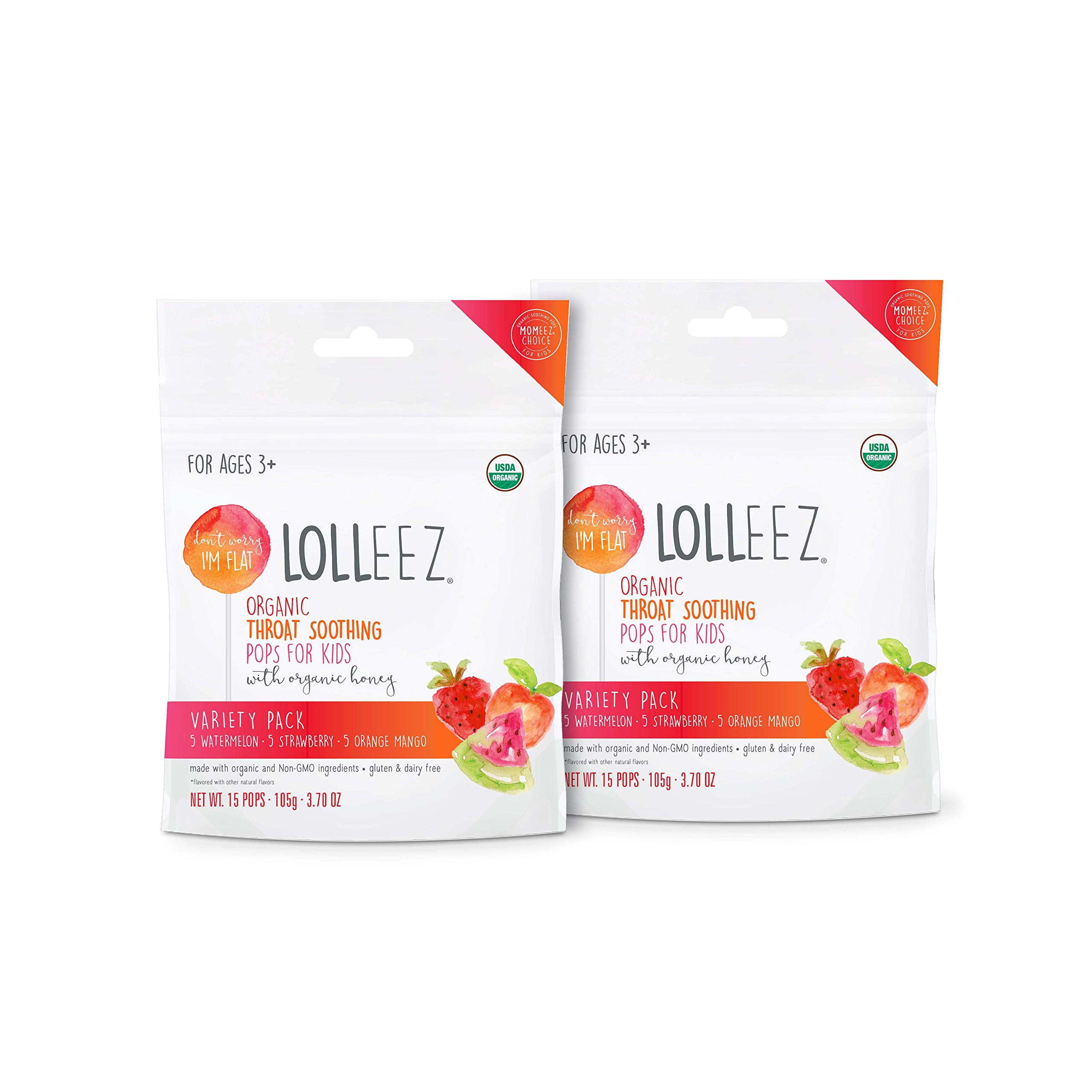 Lolleez Organic Throat Soothing Pops for Kids with Organic Honey - 2pk Multi Pack …