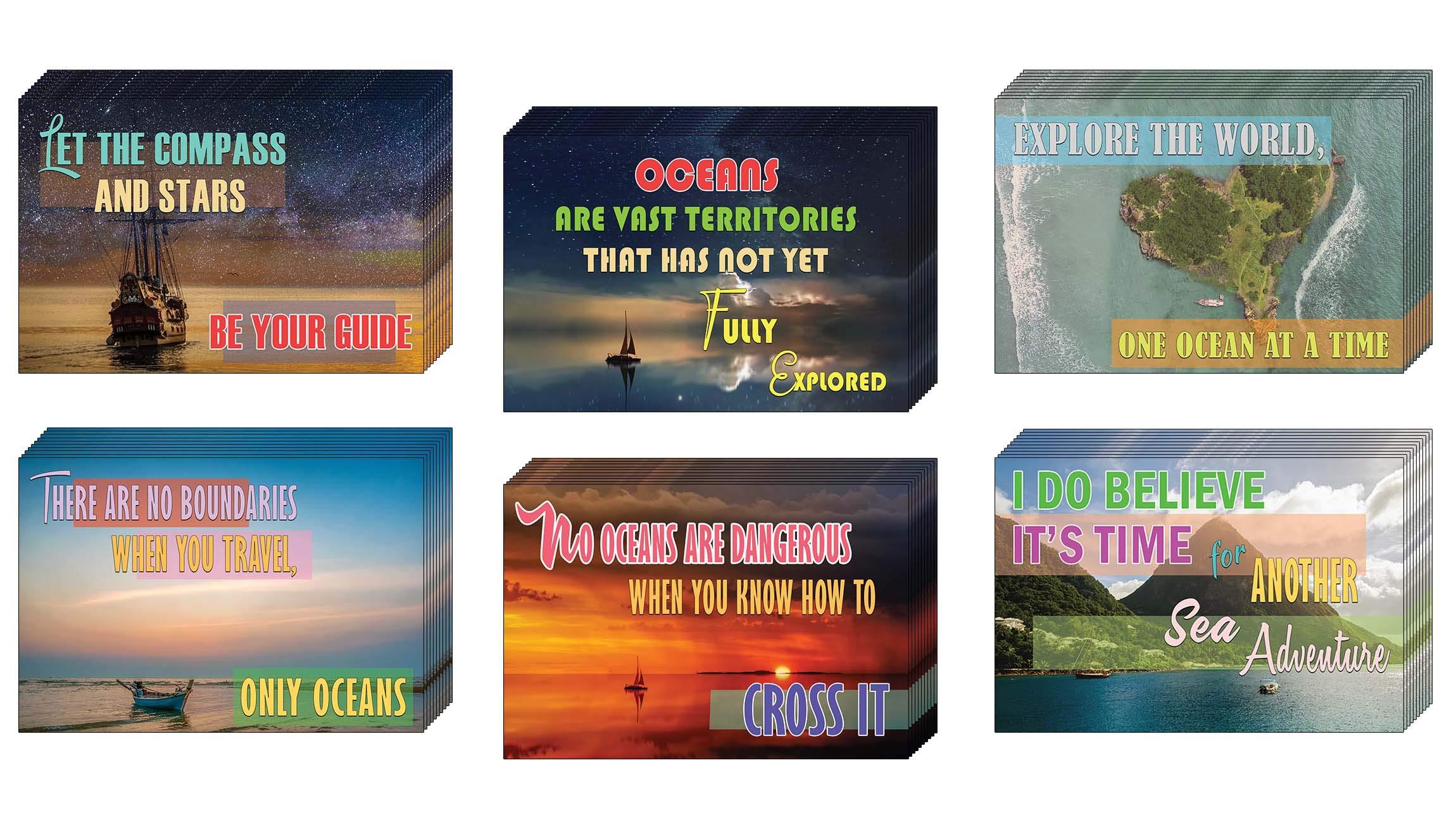 Creanoso Sea Travel Inspirational Sayings Postcards (60-Pack) – Sea Adventures Greeting Card Giveaways for Travelers, Adventurers, Explorers, Adult Men & Women – Employee Incentive Rewards
