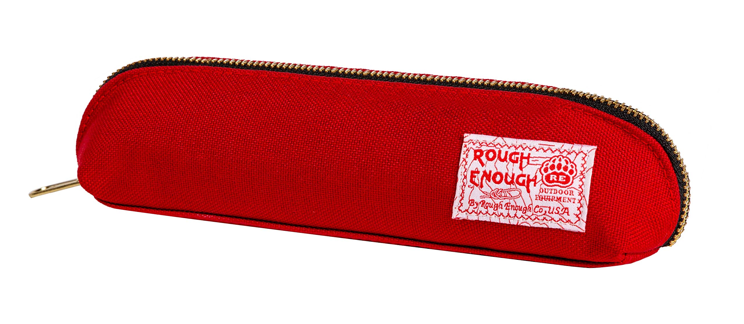 Rough Enough Cute Red Long Slim Pencil Case for Boys Girls Art Supplies Cool Zipper Organizer Colored Pouch Adults Case with Zipper for Teacher Accessories Travel College School Stationary