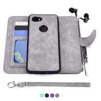 MODOS LOGICOS Google Pixel 3a XL Case, [Detachable Wallet Folio][2 in 1][Zipper Cash Storage][Up to 14 Card Slots 1 Photo Window] PU Leather Purse with Removable Inner Magnetic TPU Case - Grey