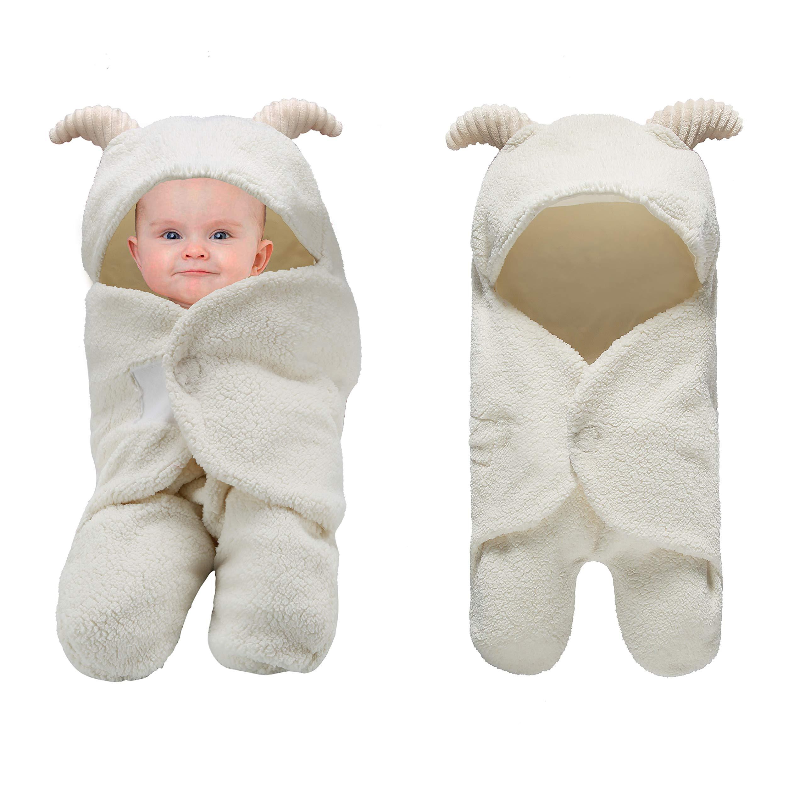 Pro Goleem Unisex Baby Swaddle Blanket White Ultra-Soft 0-6 Month Receiving Wrap Shower Gift