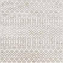 Rugs.com Geometric Kasbah Trellis Collection Rug – 6' Square Beige Low Pile Rug Perfect for Living Rooms, Kitchens, Entryways