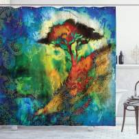 "Ambesonne Bohemian Shower Curtain, Eastern Grunge Murky Tree on Hill with Circular Mandala Blur Paint, Cloth Fabric Bathroom Decor Set with Hooks, 70"" Long, Multicolor"