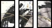"Picture Perfect International Chris Paschke Gilded Arcs II Framed Plexiglass Wall Set of 3 Art Set 25.5"" H x 40.5"" W x 1"" D Gray"