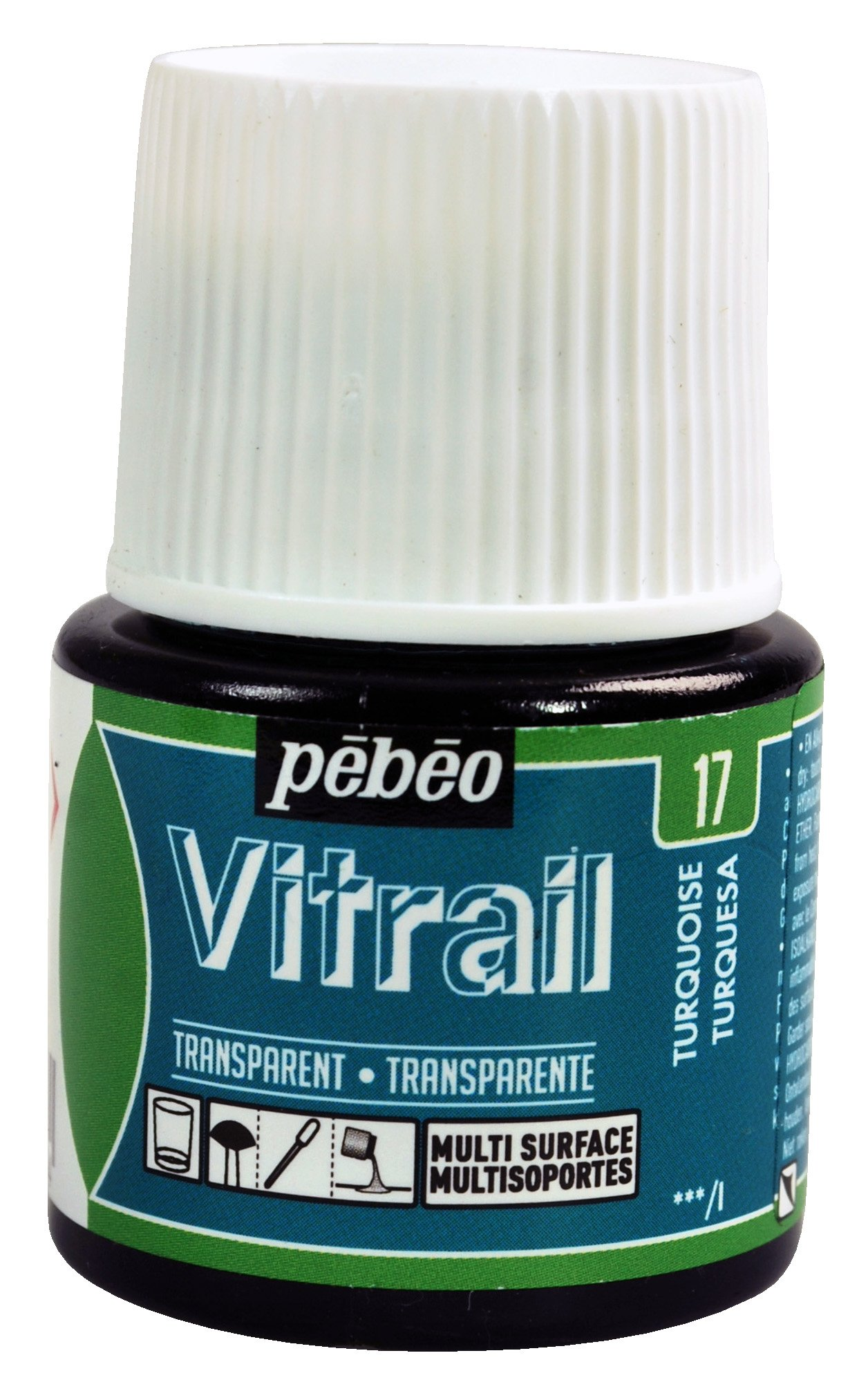 Pebeo Vitrail, Stained Glass Effect Paint, 45 ml Bottle - Turquoise