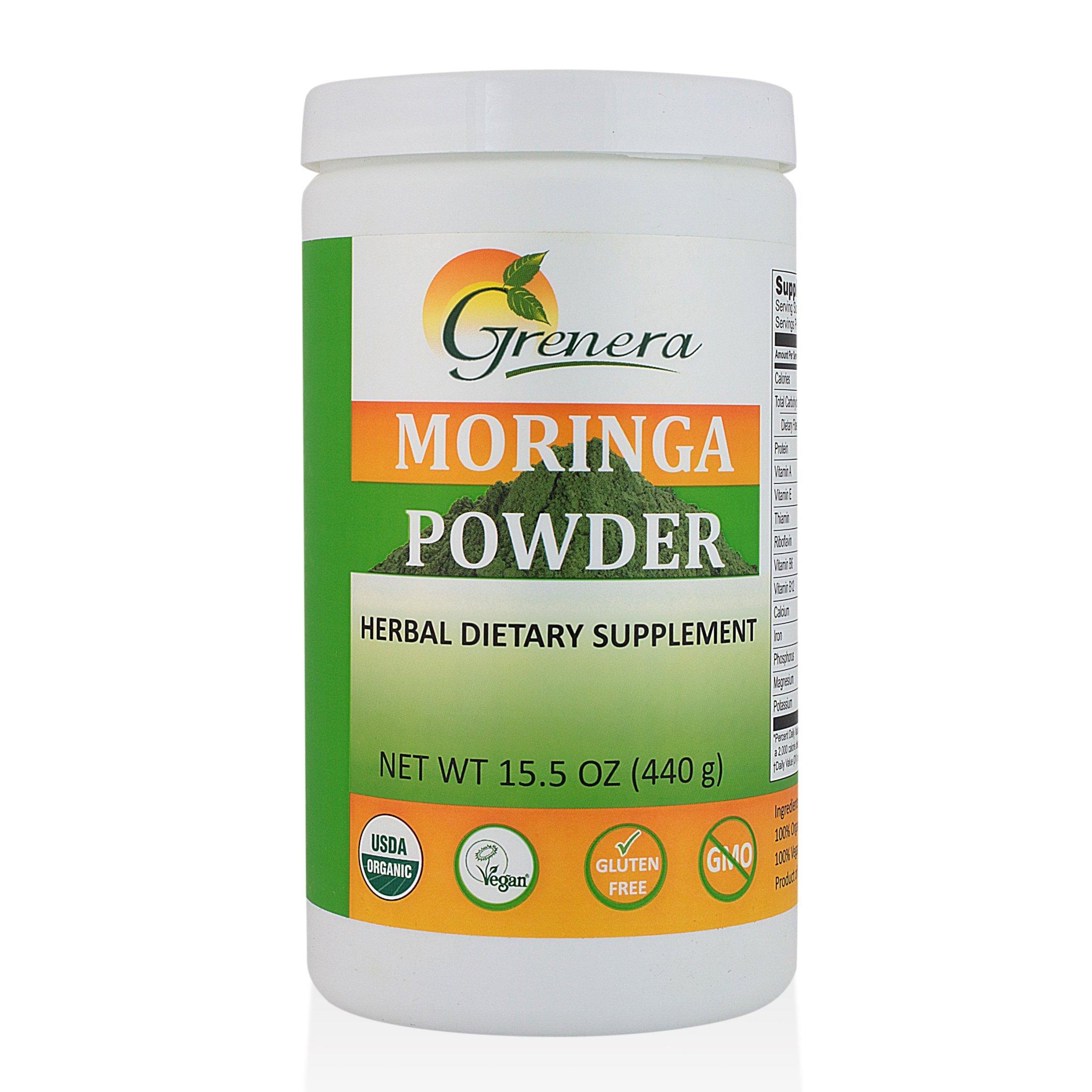 Grenera Organic Moringa Leaf Powder 15.5 Ounce- USDA Organic, Vegan, Kosher Certified