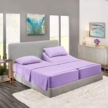 Nestl Bedding 5 Piece Sheet Set - 1800 Deep Pocket Bed Sheet Set - Hotel Luxury Double Brushed Microfiber Sheets - Deep Pocket Fitted Sheet, Flat Sheet, Pillow Cases, Split Cal King - Lavender