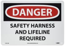 """NMC D611AB OSHA Sign, Legend """"DANGER - SAFETY HARNESS AND LIFELINE REQUIRED"""", 14"""" Length x 10"""" Height, Aluminum, Black/Red on White"""