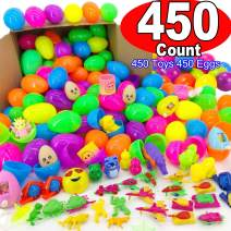 450 Piece Toys Filled Easter Eggs, 2 2/5'' Bulb Plastic Eggs with Different Toys Easter Gift for Kids, Easter Basket Stuffer, Easter Egg Hunt, Easter Party Favor, Classroom Prize Supplies