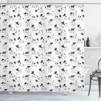 """Ambesonne Dog Lover Shower Curtain, Sketch Style Hand Drawn Jack Russell Terrier Doodles in Various Stances Purebred, Cloth Fabric Bathroom Decor Set with Hooks, 75"""" Long, Black and White"""