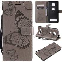 Cmeka 3D Butterfly Wallet Case for Motorola Moto Z4 Play Slim Flip Leather Protective Case,Magnetic Closure,Credit Card Slots Holder,Kickstand Function Gray