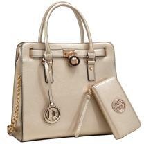 Womens Fashion Handbag Top Belted Padlock Satchel Bag Top Handle Shoulder Bag Purses w/Matching Wallet