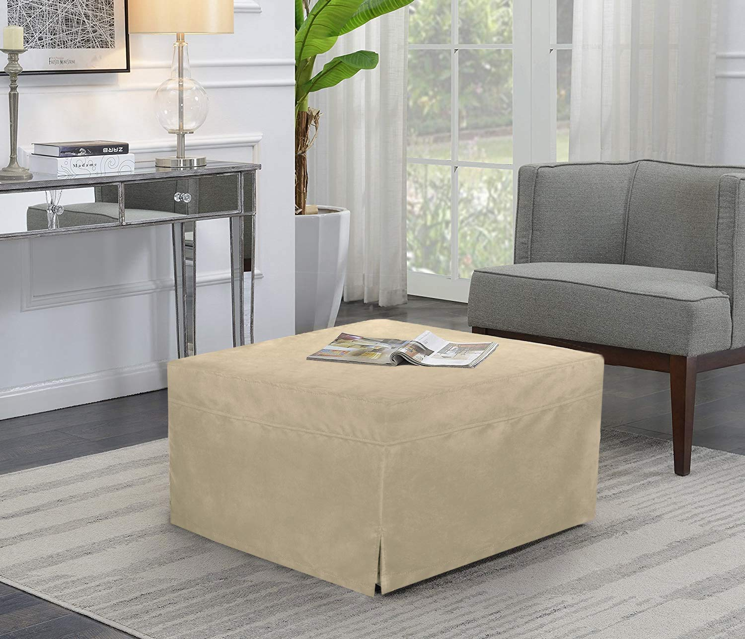 SPACE INNOVATIONS Ottoman Sleeper Guest Bed, (2nd Generation) Safe, Comfortable and Durable Updates, Fold-Out Bed Twin, Beige
