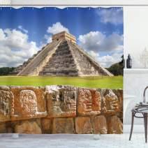 "Ambesonne Vintage Shower Curtain, Wall of Skulls and Kukulkan Pyramid El Castillo Scenery Photo, Cloth Fabric Bathroom Decor Set with Hooks, 84"" Long Extra, Green Grey"
