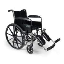 """Everest & Jennings Traveler SE Wheelchair, Fixed Full Arms & Elevating Legrests, 18x16"""" Seat, Silvervein Color"""