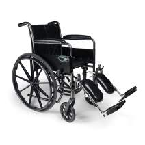 "Everest & Jennings Traveler SE Wheelchair, Fixed Full Arms & Elevating Legrests, 18x16"" Seat, Silvervein Color"