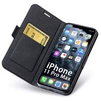 Aunote iPhone 11 Pro Max Case Wallet, iPhone 11 Pro Max Leather Case, Slim iPhone 11Pro Max Flip/Folio Case, 11ProMax Case with Card Holder, iPhone11 Max Pro Phone Cases, Protective Full Cover. Black